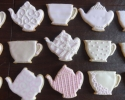 Sugar cookie teapots and teacups frosted in ivory and pale pink