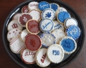 Sugar cookie rounds with Penn State University and Indiana University logos