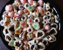 Apricot Meltaways - Festive Cherry Drops - Frosted Cherry Drops - Raisin-Filled Cookies - Raspberry Almond Thumbprints - Raspberry Meltaways - Spice Packages - White Chocolate Raspberry Slices