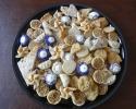 Apricot Pinwheels - Chocolate Flecked Shortbread - Colored Thumbprints (purple and white) - Lemon Brittle - Pecan Tassies - Raspberry Turnovers