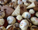 Chocolate-Filled Hearts - Italian Knots (lemon icing) - Lemon on Lemon - Red Velvet Cookies - Salted Caramel Thumbprints