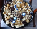 Apricot Meltaways - Apricot Pinwheels - Colored Thumbprints (blue and white - Bishop Canevin HS) - Frosted Pumpkin - Lemon Crinkles - Mini Chocolate Pizzelles - Mini Cinnamon Rolls - Peanut Butter blossoms - Pecan Tassies - Raspberry Meltaways - Salted Caramel Thumbprints - Scandinavian Almond Strips