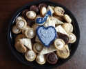 Cafe Macchiato Cups - Chocolate Truffle Cups - Lemon on lemon - Peanut Butter and Chocolate Marbled - Sugar cookie hearts and eighth notes frosted in navy and silver