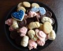 Chocolate Truffle Cups - Frosted Cherry - Lady Locks - Peanut Butter and Chocolate Marbled - Sugar cookie hearts and eighth notes frosted in navy and silver