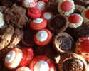 Chocolate Chocolate Chip - Chocolate Truffle Cups - Colored Thumbprints (red and white)
