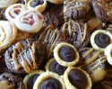 Apricot Linzer Pinwheels - Cherry Linzer Pinwheels - Orange Chocolate Truffles - Salted Chocolate Caramel