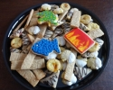 Almond Apricot Tarts - Chocolate Raspberry Turnovers - Coconut Washboards - Orange cookies dipped in white chocolate - Sugar cookie fish, elephant, and flames