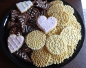 Dark Chocolate Espresso Shortbread - Sugar Cookie Wedding Cutouts - Vanilla Pizzelles