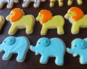 ugar cookie zebras, giraffes, lions, and elephants