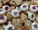 Chocolate Chip - Lemon Almond Cookie Brittle - Raspberry Almond Thumbprints