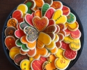 Sugar cookie hearts frosted in autumn colors