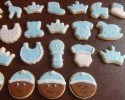 Sugar cookie baby shapes frosted in blue and white