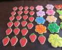 Sugar cookie flowers, strawberries and butterflies