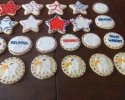 Sugar cookie red, white, and blue stars, and rounds with eagle heads