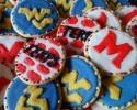 Sugar cookies with West Virginia University logo; sugar cookies with University of Maryland mascot