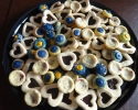 Almond Raspberry Tarts - Chocolate-Filled Vanilla Hearts - Colored Thumbprints (navy and gold)