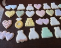 Sugar cookie wedding-engagement shapes frosted in pastels