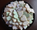 Sugar cookie hearts, wedding cakes, and dresses frosted in mint and lavender