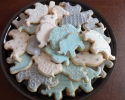 Sugar cookie elephants frosted in blue and gray