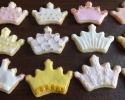 Sugar cookie crowns frosted in pink, white, and gold