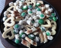 Chocolate Cinnamon Strips - Chocolate-Filled Vanilla Hearts - Colored Thumbprints (green and white) - Nut Horns