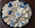 Sugar cookie hearts frosted in navy and ivory