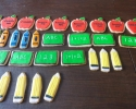 Sugar cookie apples, crayons, pencils, and chalkboards