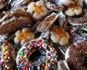 Glazed Doughnuts - Mocha Apricot Flowers - Triple Chocolate Strips